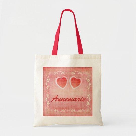 Any Name On Vintage Hearts Custom Tote Bag