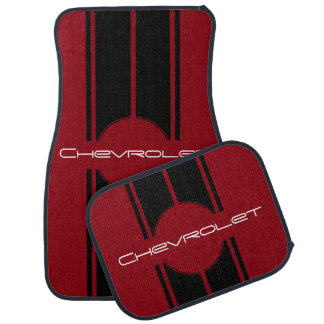 Any Name or Back Color Double Black Racing Stripes Car Mat