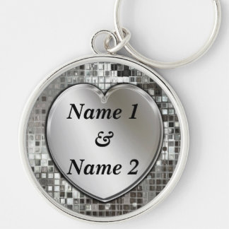Any Names On Silver Heart Large Premium Keychain