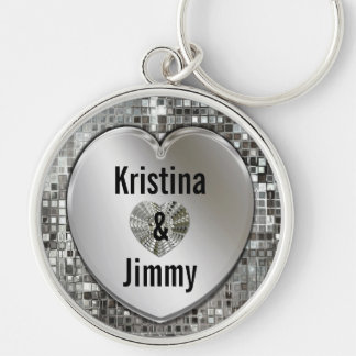 Any Names On Sparkling Silver Heart Large Keychain