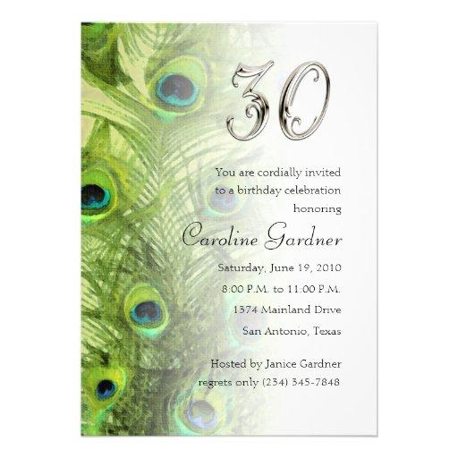 Any No. Birthday Invitation Peacock Set 1115