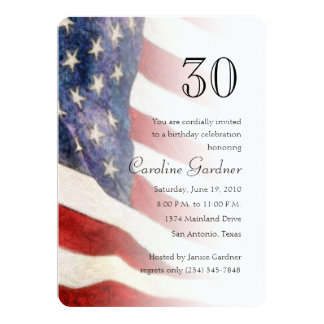 Any Number Birthday Invitation American Flag