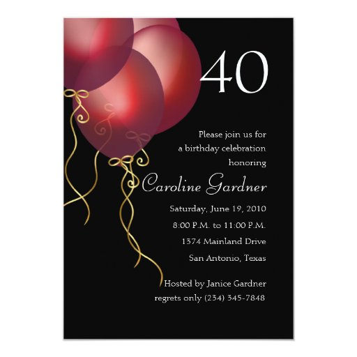 Any Number Birthday  Red Balloons Card