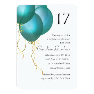 Any Number Birthday Turquoise Balloons Card