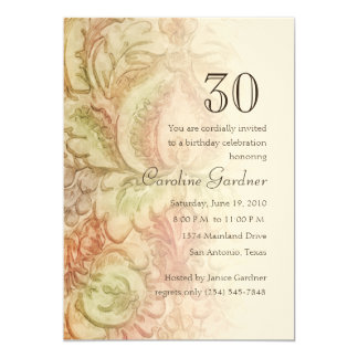 Any Number Birthday Watercolor Vintage Damask 5x7 Paper Invitation Card