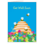 Any Occasion cute Bees and Flowers Customizable Greeting Card