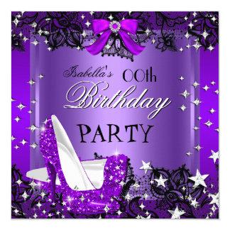 Any Occasion Elegant Purple Glitter High Heels Card