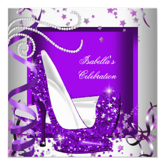 Any Occasion Party Glitter Hot Purple High Heels Card