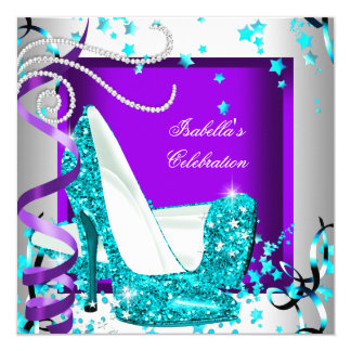 Any Occasion Party Glitter Teal Purple High Heels Card