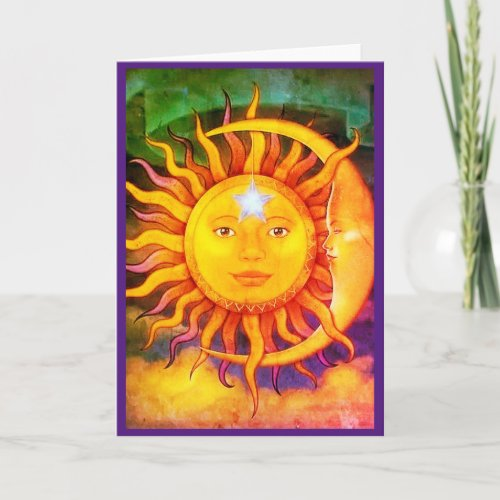 Any occasion Sun Moon Hippie Greeting Card