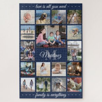 Any Quote Family Photo Collage Navy Blue Monogram Jigsaw Puzzle