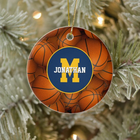 any school club fav team colors custom basketball ceramic ornament