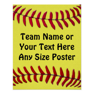 Any Size Personalized SOFTBALL Posters, YOUR TEXT Poster