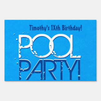 Any Teen Birthday Pool Party Save the Date P03Z Yard Sign