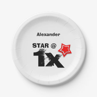 Any TEEN or TWEEN Birthday Layered RED Star T01Z Paper Plate