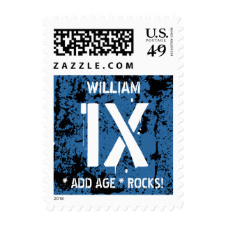 Any Teen or Tween Birthday Rocks BLUE Grunge F1XZ Postage Stamps