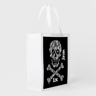 Any Teen or Tween Birthday Skull and Crossbones Z1 Grocery Bag