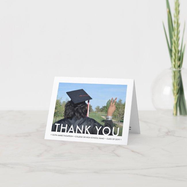 Any Text 2 Photo New Address Minimalist Graduation Thank You Card