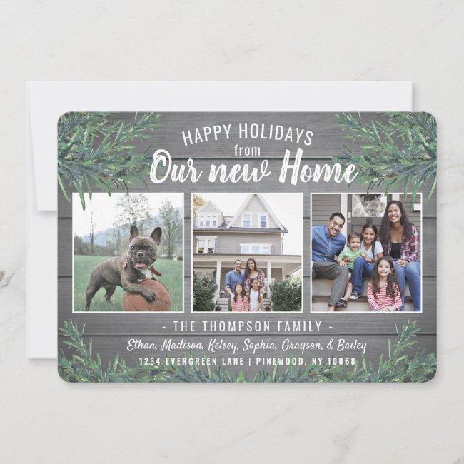 Any Text 3 Photo New Home Farmhouse Greenery Wood Holiday Card
