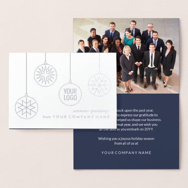 Any Text Company Logo Photo Modern Corporate Navy Foil Card