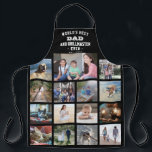 """Any Text Photo Collage Best Dad Grill Master Black Apron<br><div class=""""desc"""">Celebrate the simple joys of family and kids with an elegant custom photo collage black and white apron. Pictures and all text are simple to customize. """"World's Best Dad and Grillmaster Ever Est. 20YY"""" can include kids names and be personalized for Daddy, Pop, Papa, Grandpa, etc. IMAGE PLACEMENT TIP: An...</div>"""