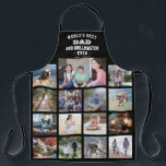 "Any Text Photo Collage Best Dad Grill Master Black Apron<br><div class=""desc"">Celebrate the simple joys of family and kids with an elegant custom photo collage black and white apron. Pictures and all text are simple to customize. ""World's Best Dad and Grillmaster Ever Est. 20YY"" can include kids names and be personalized for Daddy, Pop, Papa, Grandpa, etc. IMAGE PLACEMENT TIP: An...</div>"