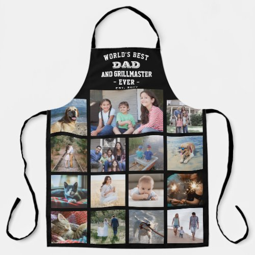 Any Text Photo Collage Best Dad Grill Master Black Apron