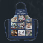 """Any Text Photo Collage Best Mom Navy Blue & White Apron<br><div class=""""desc"""">Celebrate the simple joys of family and grandkids with an elegant custom photo collage navy blue and white apron. Pictures and all text are simple to customize. Quote that reads """"World's Best Mom and Chef Ever We Love You"""" can be personalized for Mama, Mommy, Grandma, Nana, Grammy, Granny, Gigi, Auntie,...</div>"""