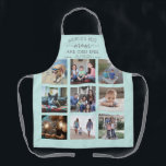 """Any Text Photo Collage Best Mom Teal Blue & Gray Apron<br><div class=""""desc"""">Celebrate the simple joys of family and grandkids with an elegant custom photo collage teal blue and gray apron. Pictures and all text are simple to customize. Quote that reads """"World's Best Mom and Chef Ever We Love You"""" can be personalized for Mama, Mommy, Grandma, Nana, Grammy, Granny, Gigi, Auntie,...</div>"""