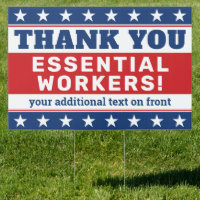 Any Text Thank You Essential Worker Red White Blue Sign