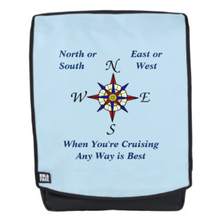 Any Way Cruising Compass Rose Blue Backpack