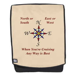 Any Way Cruising Compass Rose on Neutral Backpack