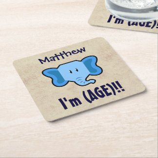 Any Year 1-9 Birthday Cute Elephant Face A09Z Square Paper Coaster