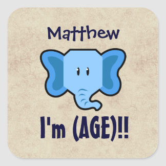 Any Year 1-9 Birthday Cute Elephant Face A09Z Square Sticker
