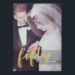 "ANY YEAR - 50th Wedding Anniversary & Photo Invitation<br><div class=""desc"">An elegant yet modern design with a modern photo frame on one side and the invitation information on the second side.</div>"