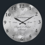 """Any Year Anniversary Elegant Large Clock<br><div class=""""desc"""">A custom any year elegant silver bokeh light with faux diamond look anniversary clock. Personalize this clock to make a gift they will treasure. You can customize the text on this elegant and beautiful design.</div>"""