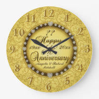 Any Year Anniversary Gold Large Clock
