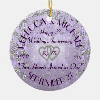 Any Year Anniversary Lavender Ceramic Ornament