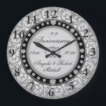 """Any Year Anniversary Silver Large Clock<br><div class=""""desc"""">A custom any year silver and black with faux diamond look anniversary clock. Personalize this clock to make a gift they will treasure. You can customize the text on this elegant and beautiful design.</div>"""
