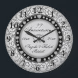 "Any Year Anniversary Silver Large Clock<br><div class=""desc"">A custom any year silver and black with faux diamond look anniversary clock. Personalize this clock to make a gift they will treasure. You can customize the text on this elegant and beautiful design.</div>"