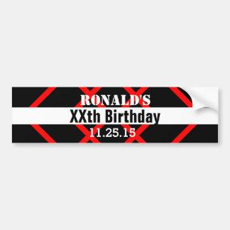 Any Year Birthday Black with Red Frame Custom A01Z Bumper Sticker