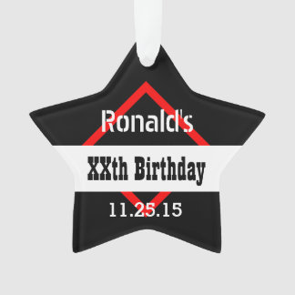 Any Year Birthday Black with Red Frame Custom A01Z Ornament