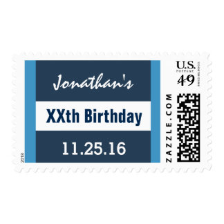 Any Year Birthday Blue and White Geometric Z01 Postage