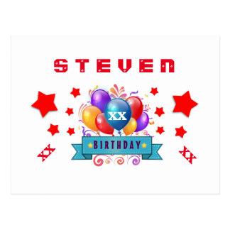 ANY Year Birthday Festive Balloons and Stars B409Z Postcard