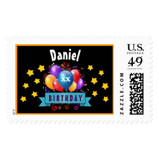 Any Year Birthday Festive Colorful Balloons B05 Postage