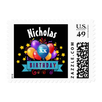 Any Year Birthday Festive Colorful Balloons B06 Postage Stamp
