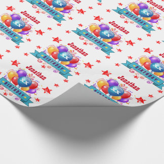 Any Year Birthday Festive Colorful Balloons V04A Wrapping Paper