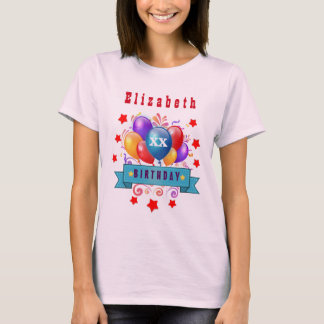 Any Year Birthday Festive Colorful Balloons V40 T-Shirt