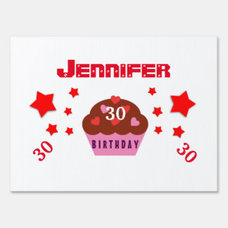Any Year Birthday Festive Cupcake and Stars V30A Sign