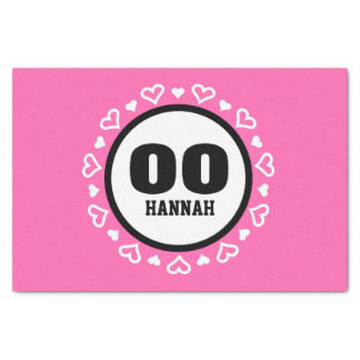 """ANY YEAR Birthday for Her HEARTS Frame PINK A15 10"""" X 15"""" Tissue Paper"""